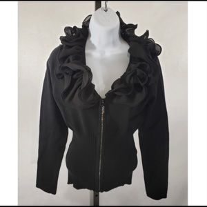 Belldini Zip Up Sweater Black with Gem Zipper